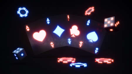 Casino chips and cards. Neon chips falling 3d rendering