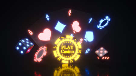 Casino background with neon chips falling 3d rendering 版權商用圖片