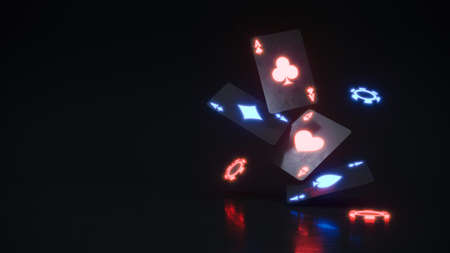 Casino background with chips and neon cards falling 3d rendering
