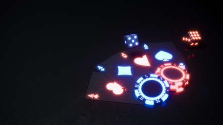 Casino background with neon chips and cards falling 3d rendering