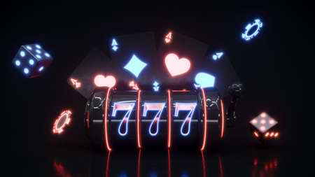 Casino neon background with slot macine and chips falling 3d rendering