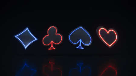 Casino cards suits with neon glow on black background 3d rendering