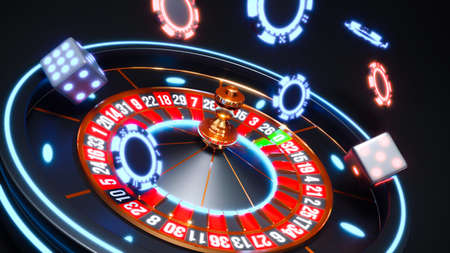 Casino background with neon glow roulette and poker chips falling 3d rendering
