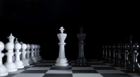 Chess kings stands among various chess pieces in 3d illustration Premium Photo