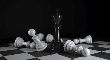 Chess king stands among various white chess pieces in 3d illustration Premium Photo