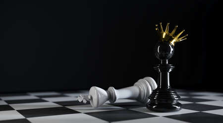 Chess pawn king stands near defeated king in 3d illustration Premium Photo 版權商用圖片