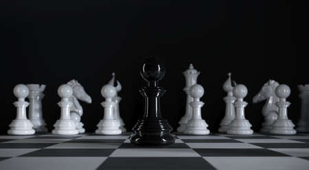 Chess black paw stands among various white chess pieces in 3d illustration Premium Photo 版權商用圖片