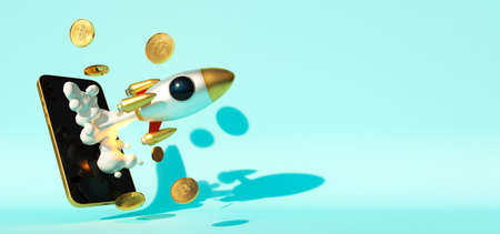 Bitcoin traiding on the phone. Rocket start 3D illustration business startup successful leadership ideas concept. Mobile phone application to trade Bitcoin BTC