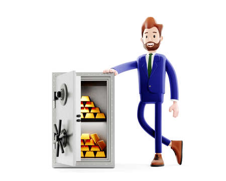 Metal safe finance 3d illustration with successful trader or office boss, opened strongbox with golden bars. Secure storage concept. Bank safe budget isolated clipart.