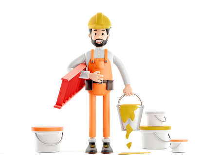 builder painter plasterer cartoon character, funny worker or engineer with buckets of paint 免版税图像