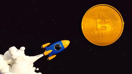 Bitcoin To The Moon. Crypto Rocket