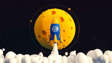 Dash To The Moon. Crypto Rocket 免版税图像