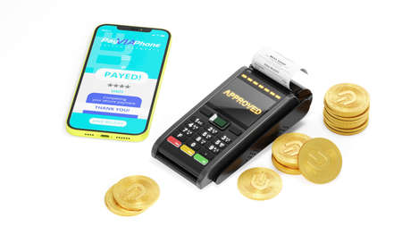 Online payment terminal and phone concept.