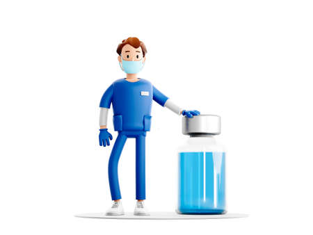 Nurse cartoon guy character. Smiling doctor with vaccine from coronavirus covid medical 3d illustration.