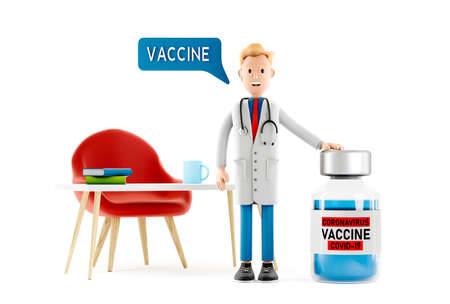 Smiling doctor cartoon guy character with vaccine from coronavirus covid medical 3d illustration. 免版税图像