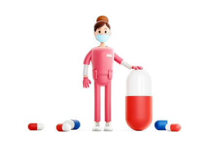 Nurse cartoon character. Smiling doctor with big pill vaccine from coronavirus covid medical 3d illustration.