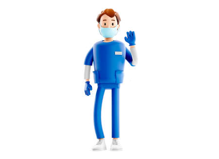 Nurse cartoon guy character posing welcoming you waving hand. Smiling handsome doctor medical 3d illustration.