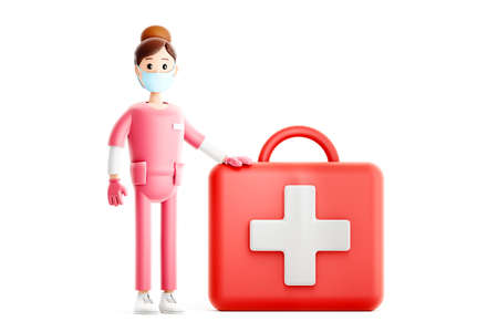 Smiling doctor with big first aid kit. Nurse cartoon character. Medical 3d illustration.