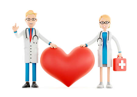 Cartoon doctors guarding a big red heart. Medical cardiology concept of health protection against heart attack and for a healthy heart. Health care3d illustration