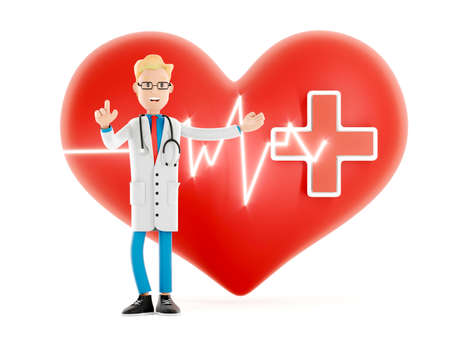 Cartoon doctor near a big red heart. Medical cardiology concept of health protection against heart attack and for a healthy heart. Health care3d illustration 免版税图像