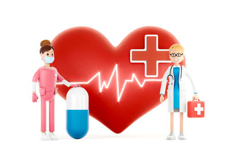 Cartoon doctors guarding a big red heart. Medical cardiology concept of health protection against heart attack and for a healthy heart. 3d illustration