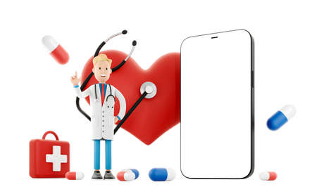 Cartoon doctor near a big red heart and mobile phone. Medical health care concept. Call your doctor for health protection against heart attack. 3d illustration