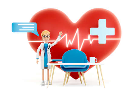 Cartoon doctor near a big red heart. Medical cardiology concept of health protection against heart attack and for a healthy heart. 3d illustration 免版税图像