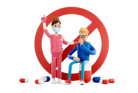Nurse asks for help for a patient with coronavirus. Medical health care concept. Cartoon doctor treats the patient 3d illustration