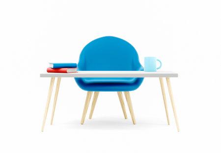 Office table for work, furniture concept 3d illustration