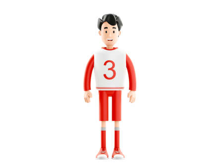 Cartoon character football or soccer player isolated on white background