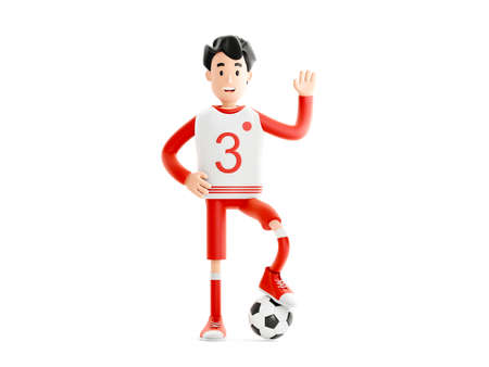 Cartoon character football or soccer player with a ball isolated on white background 免版税图像