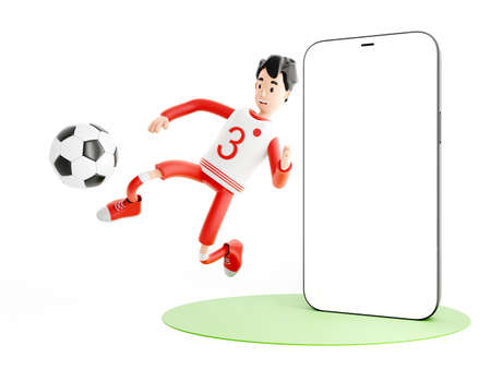 Cartoon character football or soccer player with a mobile phone