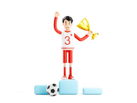 Cartoon character football or soccer player with a cup stands on the podium