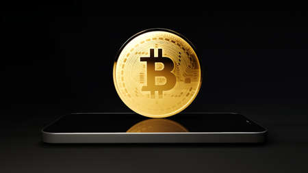 Blockchain cyptocurrency bitcoin btc with smartphone, Mobile phone with bitcoin coin 3d rendering