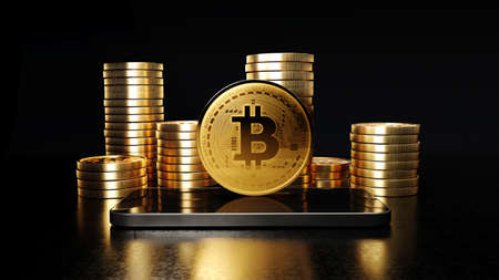 Blockchain cyptocurrency bitcoin btc with smartphone, Mobile phone next to stacks of bitcoins, 3d rendering