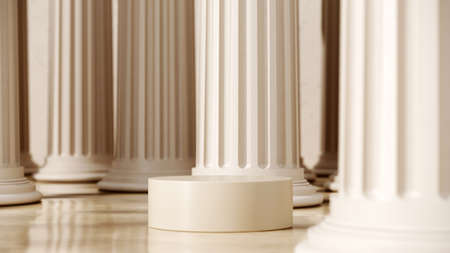 Abstract pedestal, blank platform for product display. Round podium for product presentation. 3d rendering