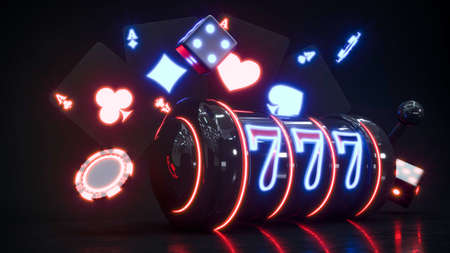 Casino background with neon roulette and chips falling 3d rendering