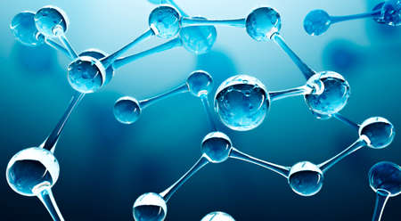 Abstract water molecules design. Atoms formula. Abstract dna background for chemistry science banner or flyer. Science or medical background. 3d rendering illustration.