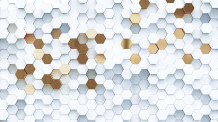 Abstract luxury background with golden hexagons. 3d rendering. Banque d'images