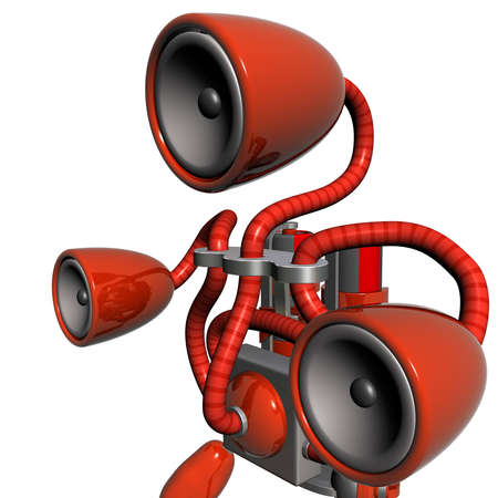 subwoofer: red sub-woofer robot Stock Photo