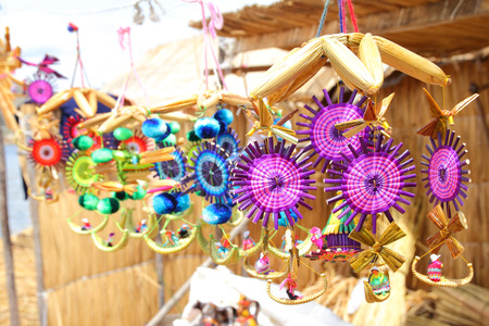 peruvian ethnicity: Bright and colorful traditional toys made by natives
