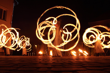 Fire show outdoor in the night Archivio Fotografico