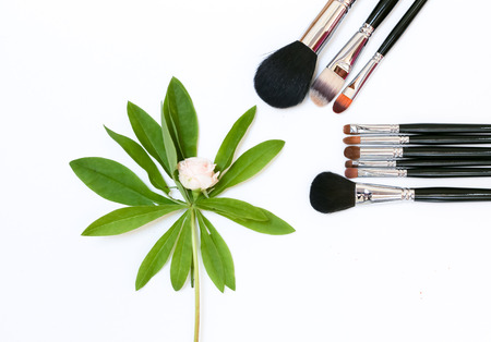 Decorative composition with makeup cosmetics, brushes, and flowers. Top view on white background
