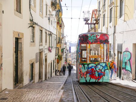 The Funicular in the city of Lisbon, Portugal