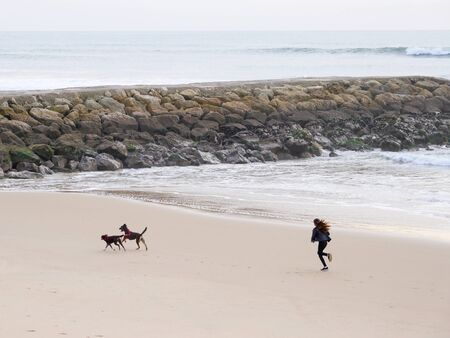 girl with to dogs running on the Beach Archivio Fotografico - 139872438