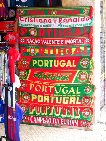 Red and green portuguese scarfs for the soccer fans