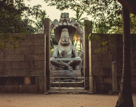 monument in india: Laxmi Narasimha monument. Hampi, India Stock Photo