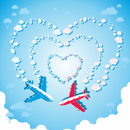 Vector illustration of two planes in love in the blue sky Vector