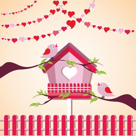 Vector illustration of love birds in a birdhouse
