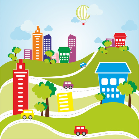 baloon: Vector illustration of color city with cars, trees, roads and baloon Illustration
